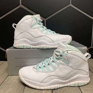 Womens Air Jordan 10 Teal Ice White Shoe Size 7